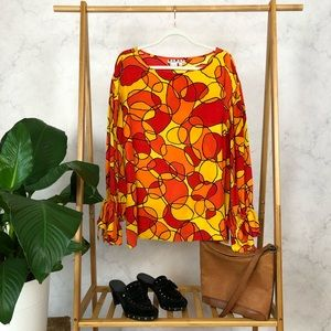 Vintage 80s Silk Balloon Sleeve Abstract Print Top